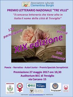 """27 maggio 2017: Premiazione del XIX concorso letterario nazionale """"Tre Ville"""""""