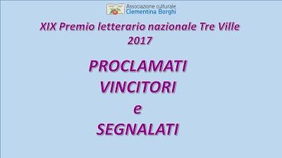 """XIX concorso letterario nazionale """"Tre Ville"""" proclamazione dei vincitori e dei segnalati"""