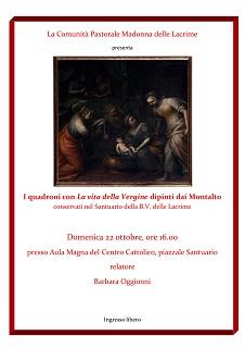 """L'arch. Barbara Oggionni parlerà dei Quadroni con """"La vita della Vergine"""" dipinti dai Montalto"""